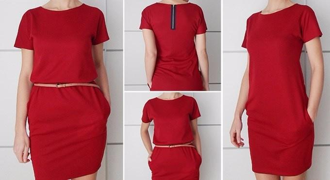 Платье - кокон с контастными карманами (Diy)