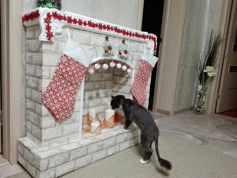 Рождественский камин своими руками вместе с котом Федором! Мастер класс!