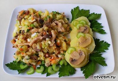 Салат с картофелем и курицей шампиньонами