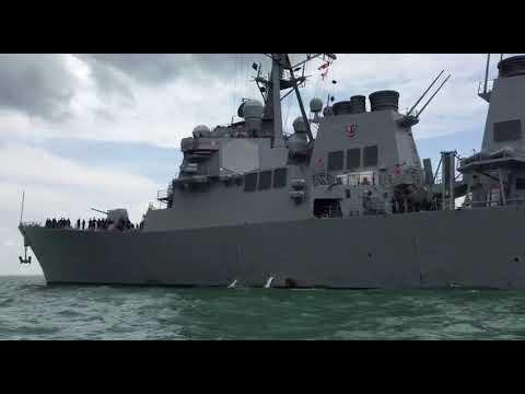 Появилось видео повреждений эсминца «Джон Маккейн»