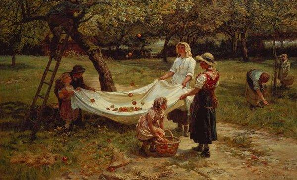 На холсте Моргана Фредерика показано, как собрать урожай в 19 веке.