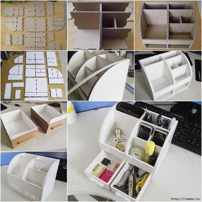 Стильный органайзер из картона с выдвижными ящиками: мастер-класс