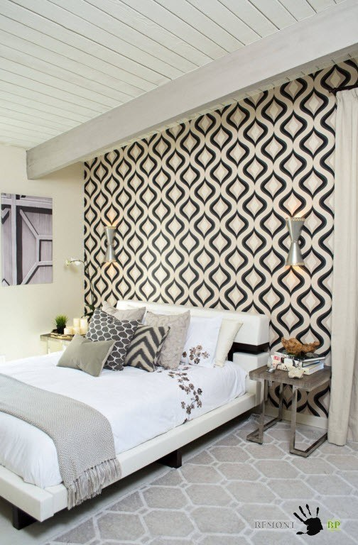 Черно-белый орнамент для дизайна спальни