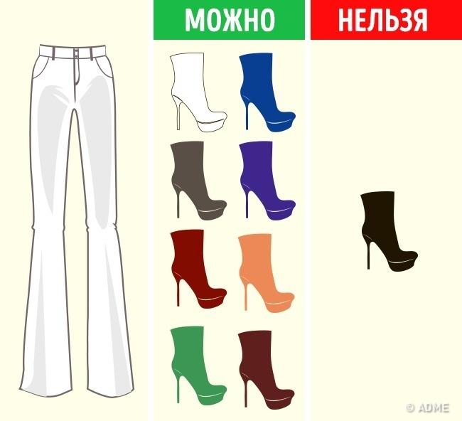 Как подобрать цвет обуви к любой одежде и наоборот