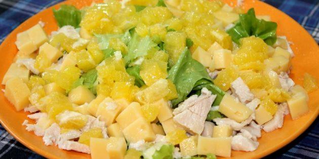Рецепты салатов без майонеза: Салат c курицей, сыром и апельсином