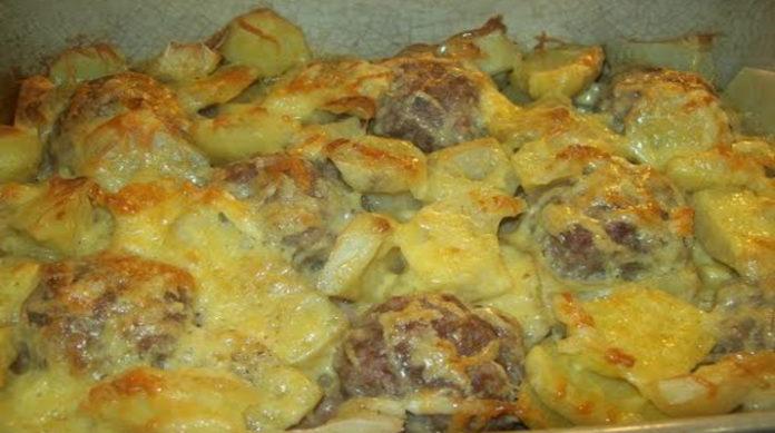 Фарш под картофелем в духовке рецепт из свинины