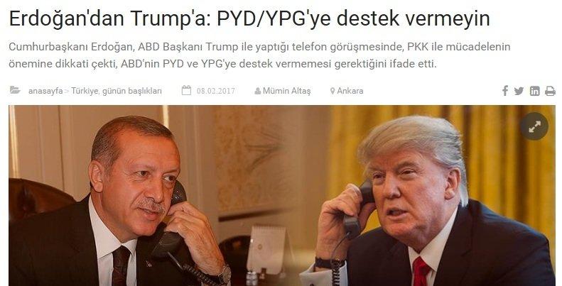 Трамп и Эрдоган решили вопрос взаимодействия в САР по телефону