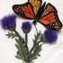 Объемная вышивка бабочки гладью