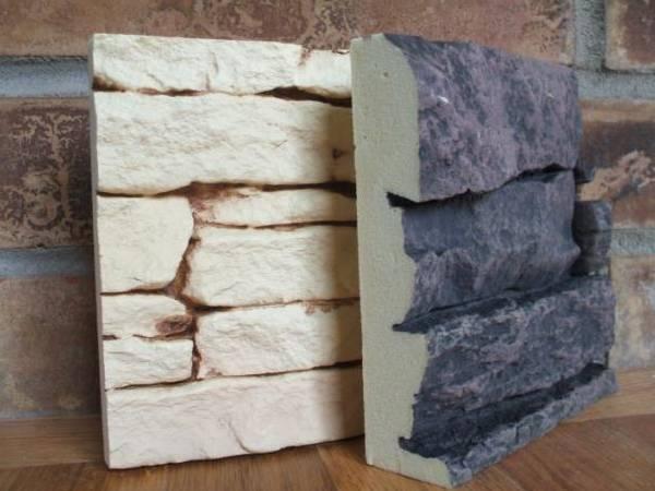 Искусственный камень для фасада в разрезе