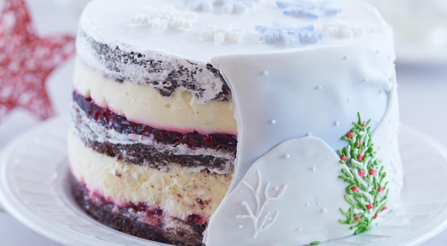 Шоколадный торт «Клюква в снегу»