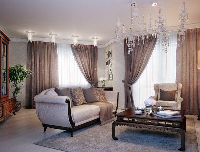 гостиная современная классика штора коричневая