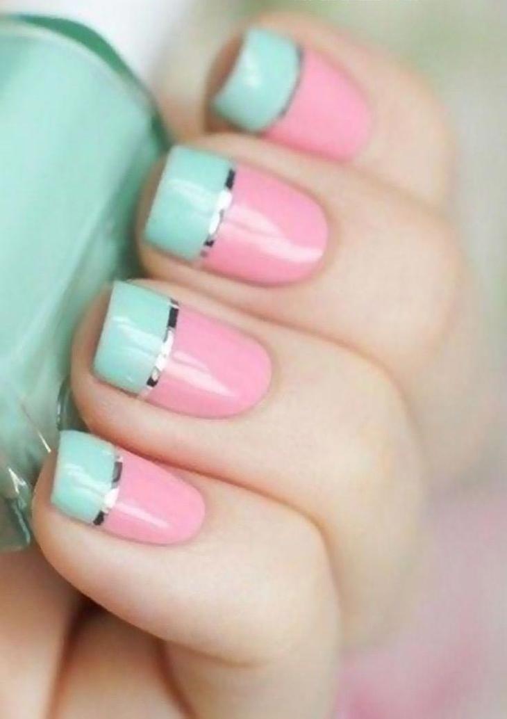 Маникюр цвет мята и розовый