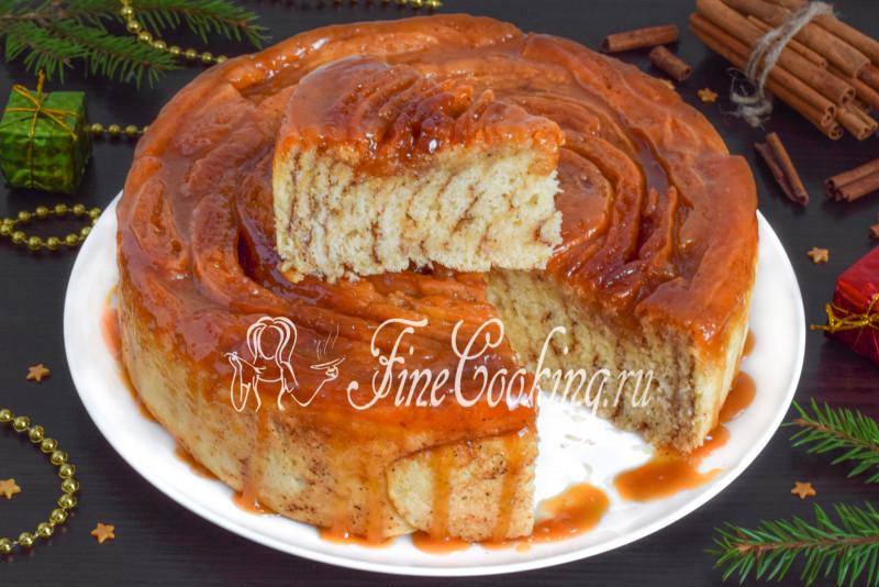 Спиральный пирог с карамелью