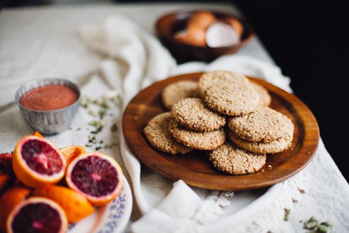 Кунжутное печенье с апельсиновым кремом