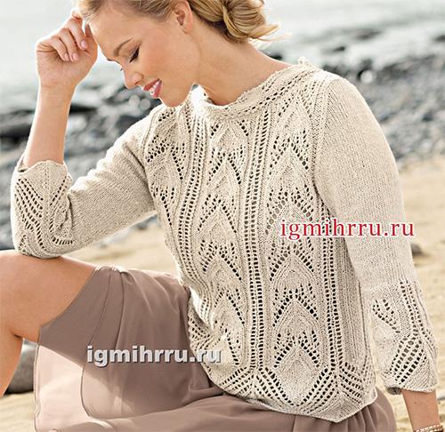Легкий пуловер с ажурными структурами