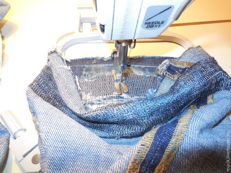 Ремонт изношенной подгибки у джинсов