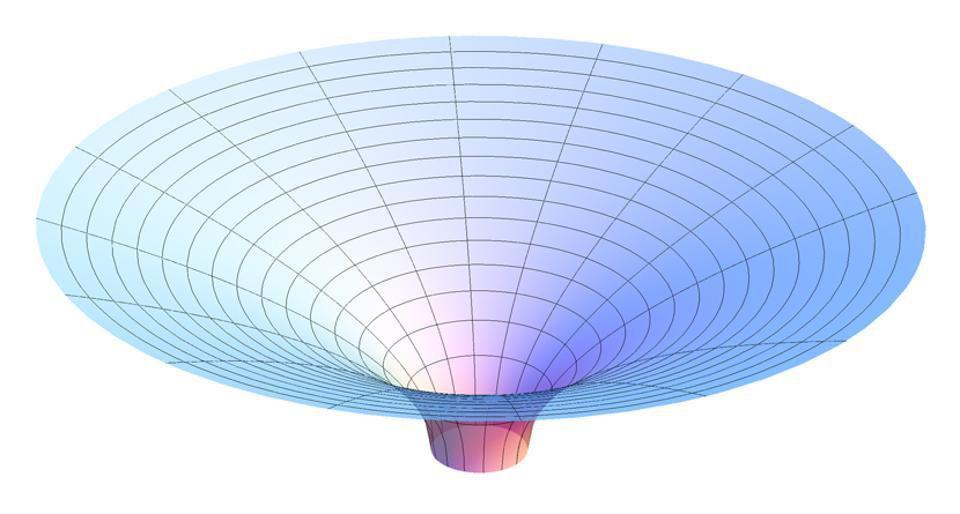 Параболоид Фламма, представляющий пространство-время за пределами горизонта событий шварцшильдовской черной дыры / © AllenMcC/WIkimedia Commons