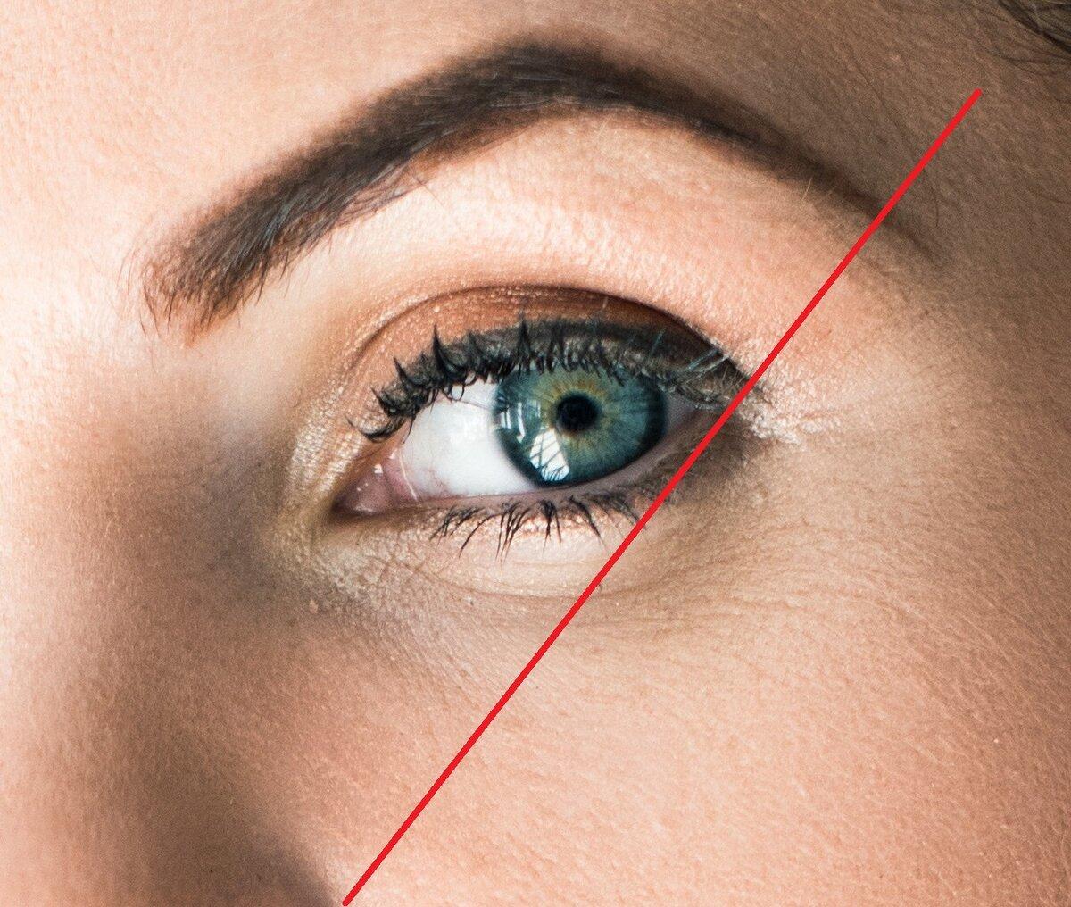 Маленький кусочек брови, который остался за линией, подчеркивает возраст и делает взгляд более возрастным