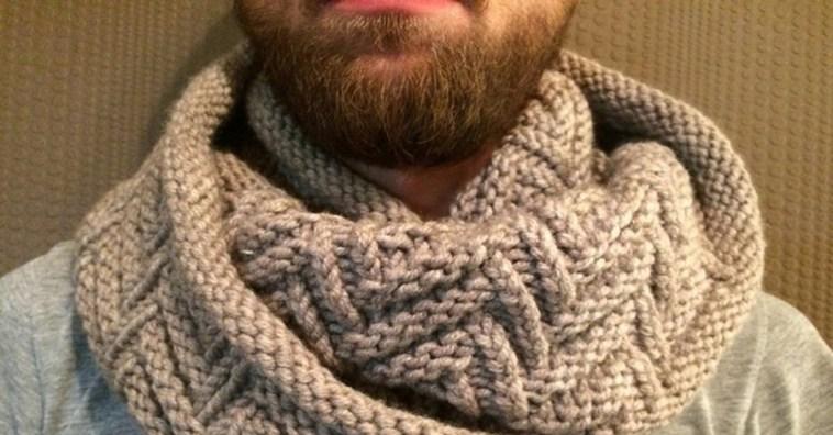 Как связать мужской шарф снуд спицами для начинающих