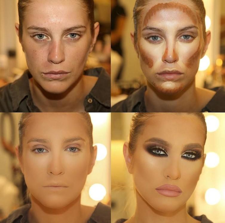Красивая девушка, правда? А вот как она выглядит без макияжа…