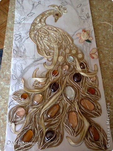 Картина панно рисунок Мастер-класс Моделирование конструирование Филигранный павлин МК Шпагат фото 25
