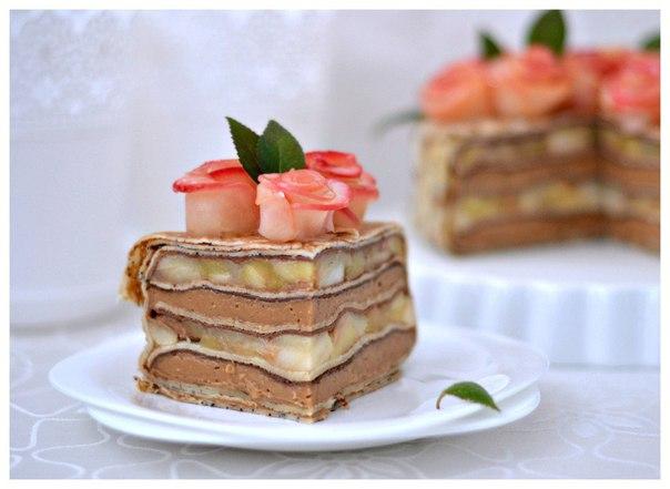 Блинный торт с карамельным муссом