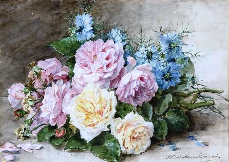 Потрясающие акварельные натюрморты Madeleine Jeanne Lemaire. Современники называли её — Императрица  роз...