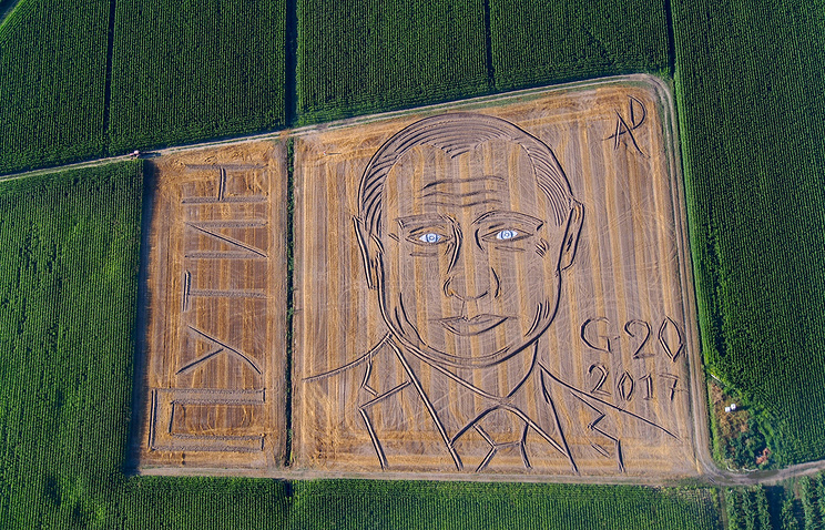 Огромный портрет Путина появился на пшеничном поле в Италии