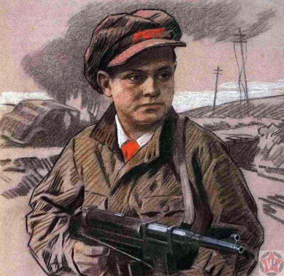Леня Голиков с оружием в руках