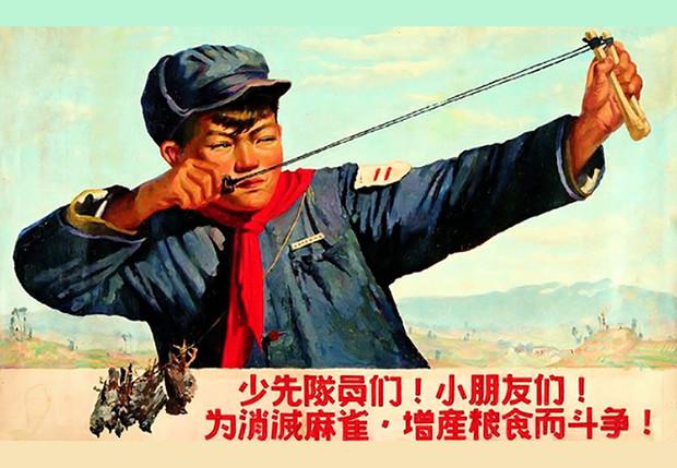 Китайские плакаты, агитирующие убивать воробьев