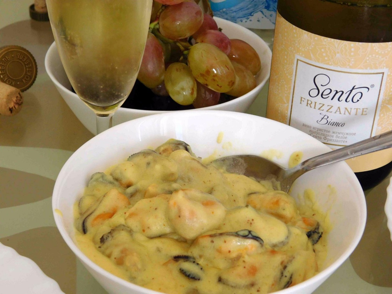 Мидии в сливочном соусе с карри