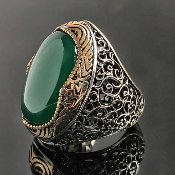 925 Sterling Silver Mens Ring Green Onyx Unique Handmade Turkish jewelry size 10 #Handmade #Solitaire #men'sjewelry