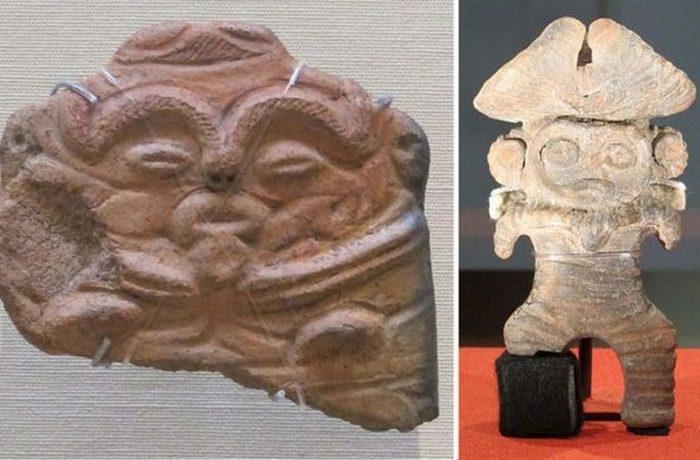 Статуэтки времен конца японского периода Дзёмон (14 000 - 400 г.г. до н.э.).