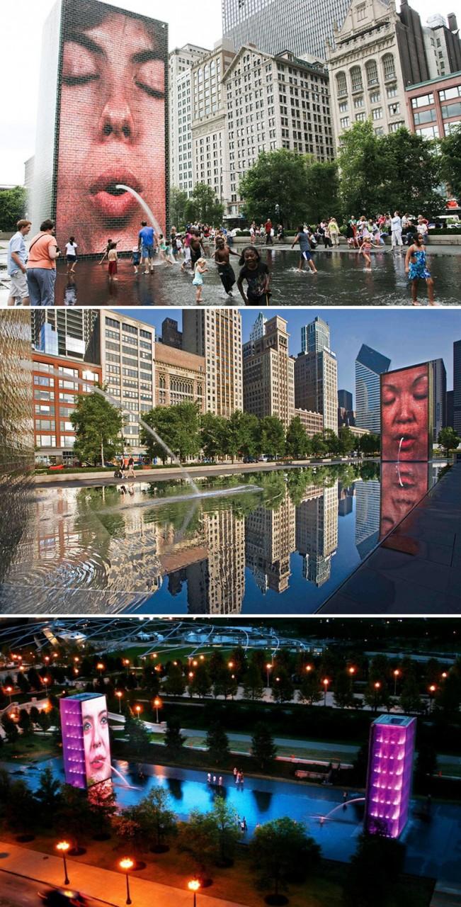 """""""Корона"""", Чикаго, США город, достопримечательность, интересное, мир, подборка, страна, фонтан, фото"""