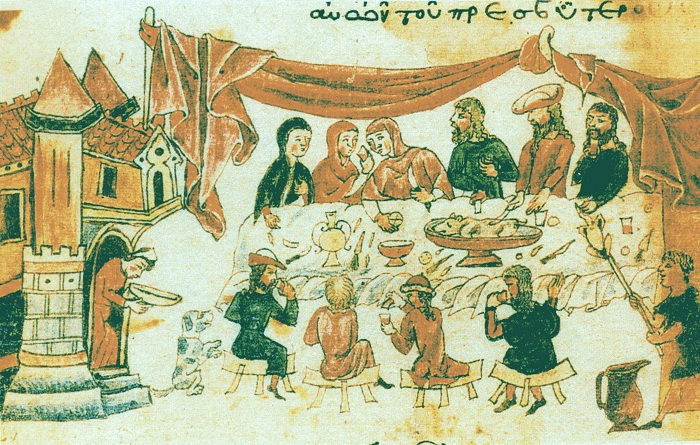 Пир в доме Иова, византийская миниатюра XIV века. | Фото: upload.wikimedia.org.