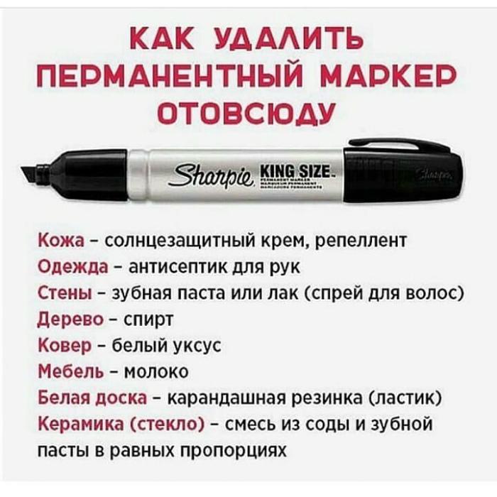Как удалять пятна от маркеров.   Фото: Deskgram.