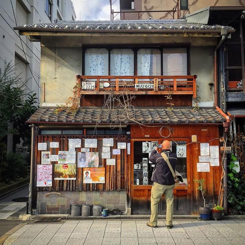 Мини-отель и кафе архитектура, дома, здания, киото, маленькие здания, местный колорит, фото, япония