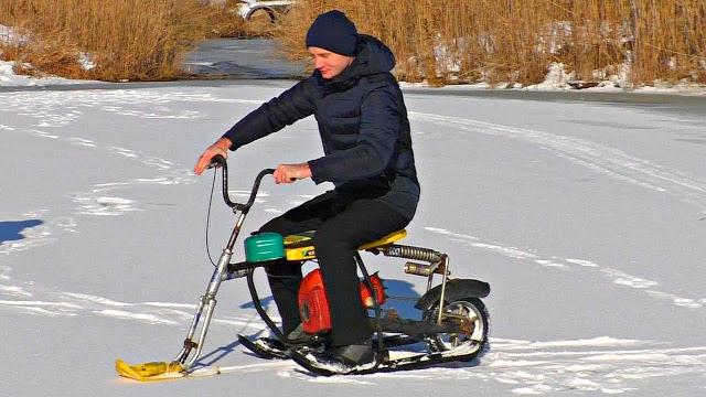 Зверские испытания самодельного Снегохода из БензоПилы