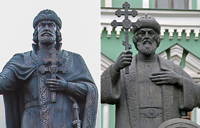 Кресты на скульптурах князя Владимира в Смоленске и в Москве.