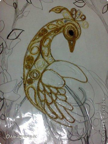 Картина панно рисунок Мастер-класс Моделирование конструирование Филигранный павлин МК Шпагат фото 7