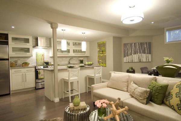 Красивый интерьер кухни совмещенной с гостиной