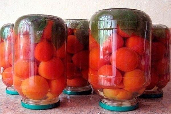 Очень вкусные консервированные помидоры с малиновыми листьями