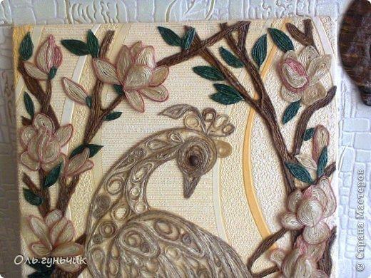 Картина панно рисунок Мастер-класс Моделирование конструирование Филигранный павлин МК Шпагат фото 41
