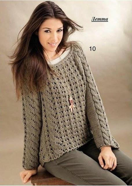 Пуловер и берет спицами