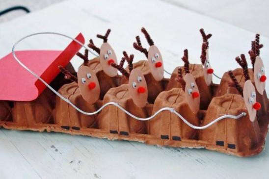 Оленья упряжка из коробки для яиц. Фото с сайта http://www.wellnourishednest.com