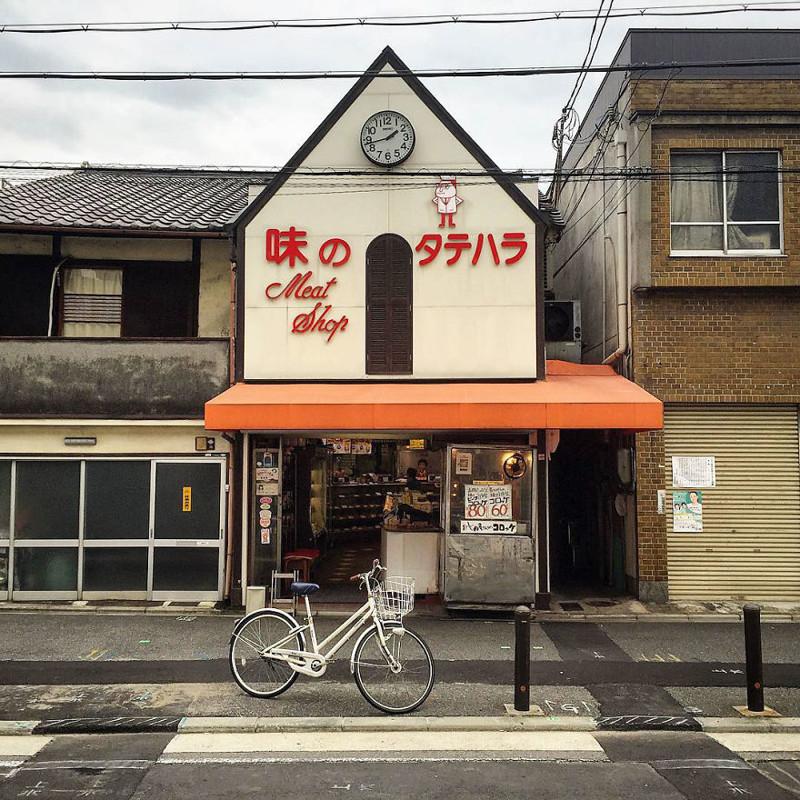 """""""Мясная лавка """"Адзи-но-татихара"""" славится своими фрикадельками"""" архитектура, дома, здания, киото, маленькие здания, местный колорит, фото, япония"""