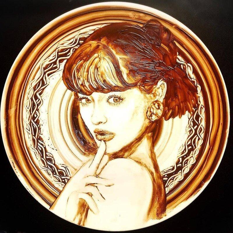 Вкусное искусство: талантливая художница рисует растопленным шоколадом еда, инстарграм, красота, талант, фантазия, шоколад, япония