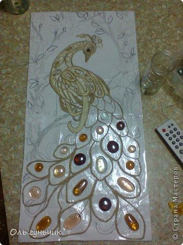 Картина панно рисунок Мастер-класс Моделирование конструирование Филигранный павлин МК Шпагат фото 10