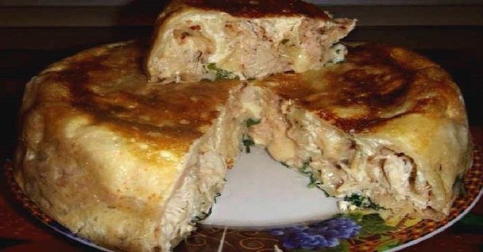 Пышный пирог с курицей - простой заливной несладкий пирог
