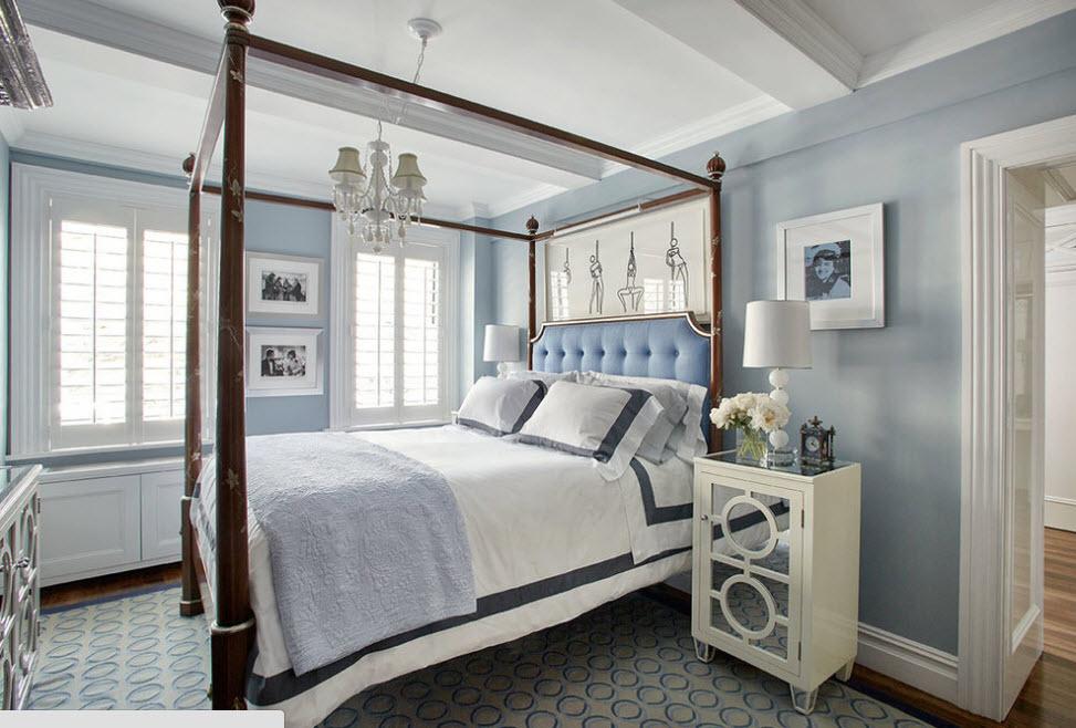 спальня в бело-голубых тонах